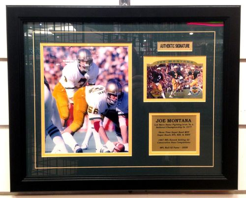 Notre Dame Joe Montana Autograph Card and 8x10 Framed