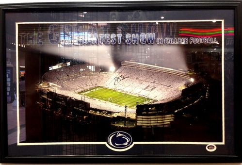 Penn State Joe Paterno Autograph Panoramic Poster Framed