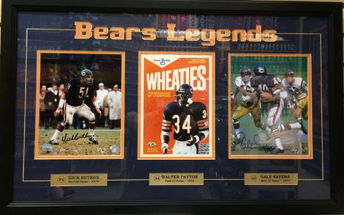 Bears Legends Butkus, Payton, Sayers Autographed,Framed Picture