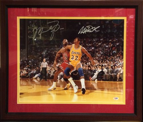 Jordan & Magic Autographed by Both/Framed Picture