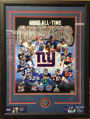 NY Giants All-Time Greats 11 Autographs Framed Picture