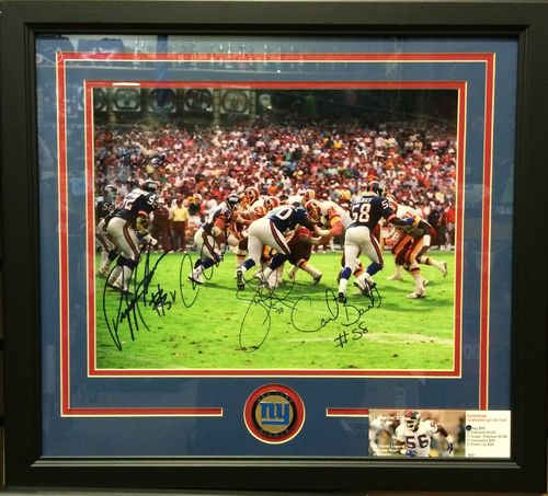 1990 Giants Defense 5 Autographs Framed Picture