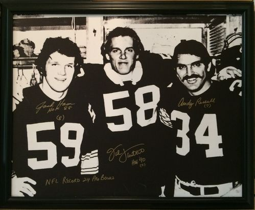 Steelers Linebackers Ham, Lambert, Russell Autographed,Framed Canvas