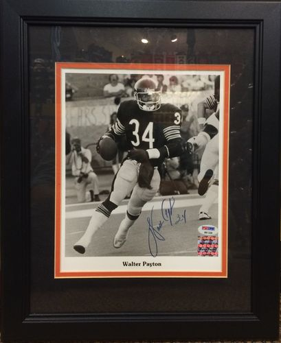 "Walter Payton, ""Sweetness"", Autographed Framed Picture"