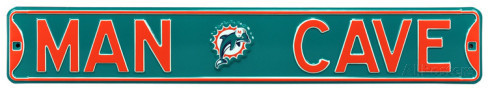"Miami Dolphins Aqua 6"" x 36"" Man Cave Steel Street Sign"