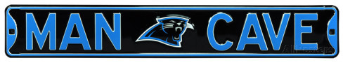 "Carolina Panthers Black 6"" x 36"" Man Cave Steel Street Sign"