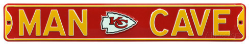 "Kansas City Chiefs Red 6"" x 36"" Man Cave Steel Street Sign"