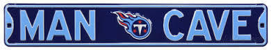"Tennessee Titans Navy 6"" x 36"" Man Cave Steel Street Sign"