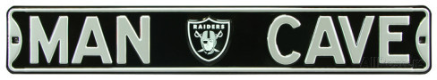 "Oakland Raiders Black 6"" x 36"" Man Cave Steel Street Sign"