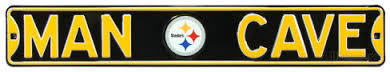 "Pittsburgh Steelers Black 6"" x 36"" Man Cave Steel Street Sign"