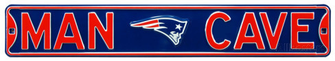 "New England Patriots Navy 6"" x 36"" Man Cave Steel Street Sign"