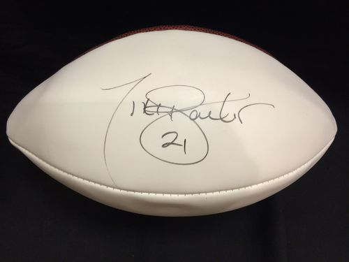 Tiki Barber Autographed New York Giants Football