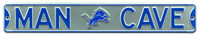 "Detroit Lions 6"" x 36"" Man Cave Steel Street Sign"