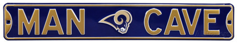 "St. Louis Rams 6"" x 36"" Man Cave Steel Street Sign"
