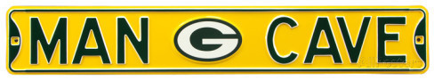 "Green Bay Packers 6"" x 36"" Man Cave Steel Street Sign"