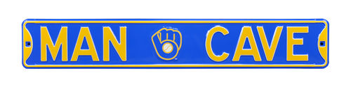 "Milwaukee Brewers 6"" x 36"" Man Cave Steel Street Sign"