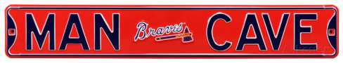 "Atlanta Braves 6"" x 36"" Man Cave Steel Street Sign"
