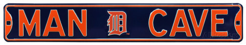 "Detroit Tigers 6"" x 36"" Man Cave Steel Street Sign"