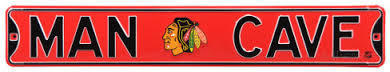 "Chicago Blackhawks 6"" x 36"" Man Cave Steel Street Sign"