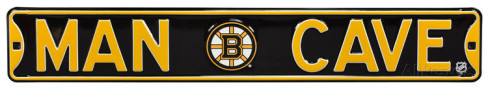 "Boston Bruins 6"" x 36"" Man Cave Steel Street Sign"