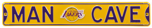 "Los Angeles Lakers 6"" x 36"" Man Cave Steel Street Sign"