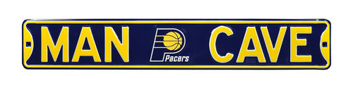 "Indiana Pacers 6"" x 36"" Man Cave Steel Street Sign"