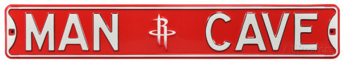 "Houston Rockets 6"" x 36"" Man Cave Steel Street Sign"