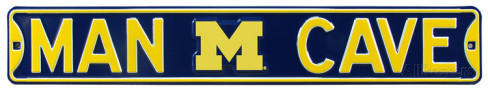 "Michigan Wolverines 6"" x 36"" Man Cave Steel Street Sign"