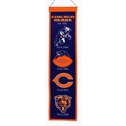 "Chicago Bears Wool 8"" x 32"" Heritage Banner"