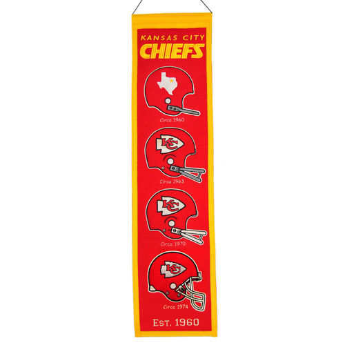 "Kansas City Chiefs Wool 8"" x 32"" Heritage Banner"