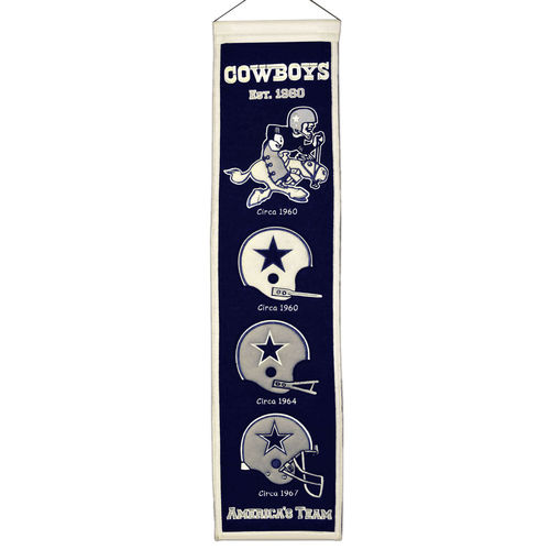 "Dallas Cowboys Wool 8"" x 32"" Heritage Banner"