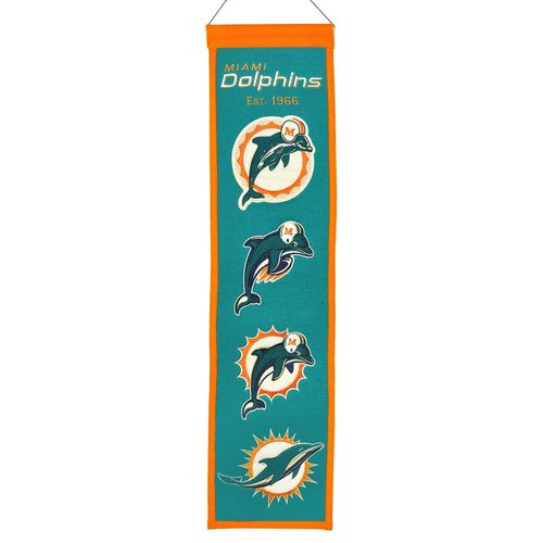 "Miami Dolphins Wool 8"" x 32"" Heritage Banner"