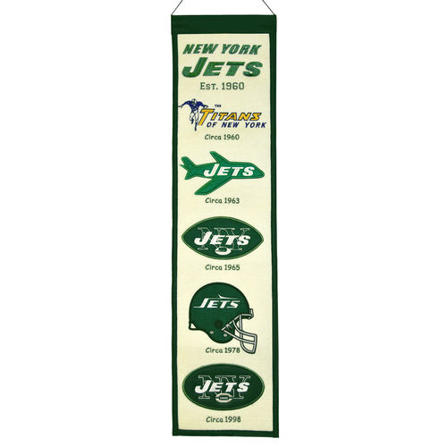 "New York Jets Wool 8"" x 32"" Heritage Banner"