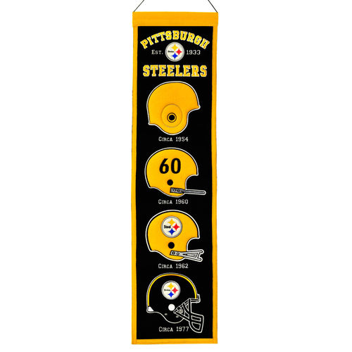 "Pittsburgh Steelers Wool 8"" x 32"" Heritage Banner"