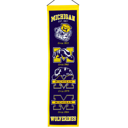 "Michigan Wolverines Wool 8"" x 32"" Heritage Banner"