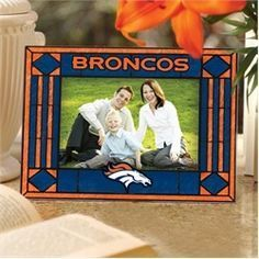 Denver Broncos Art Glass Picture Frame
