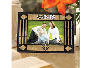 New Orleans Saints Art Glass Picture Frame