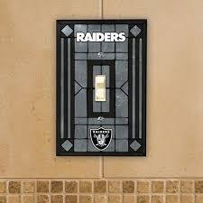 Oakland Raiders Art Glass Switch Plate