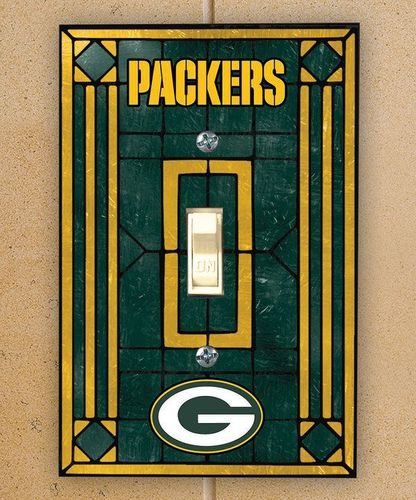 Green Bay Packers Art Glass Switch Plate