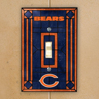 Chicago Bears Art Glass Switch Plate
