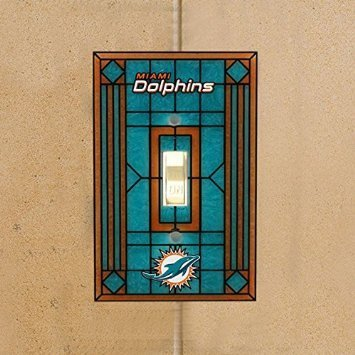 Miami Dolphins Art Glass Switch Plate