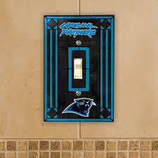 Carolina Panthers Art Glass Switch Plate