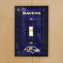 Baltimore Ravens Art Glass Switch Plate