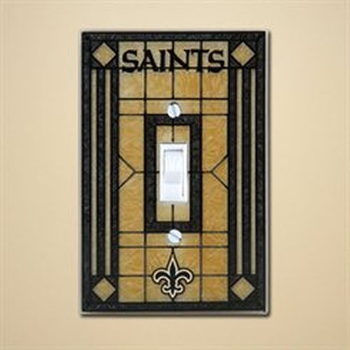 New Orleans Saints Art Glass Switch Plate
