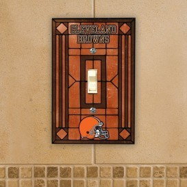Cleveland Browns Art Glass Switch Plate