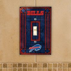 Buffalo Bills Art Glass Switch Plate
