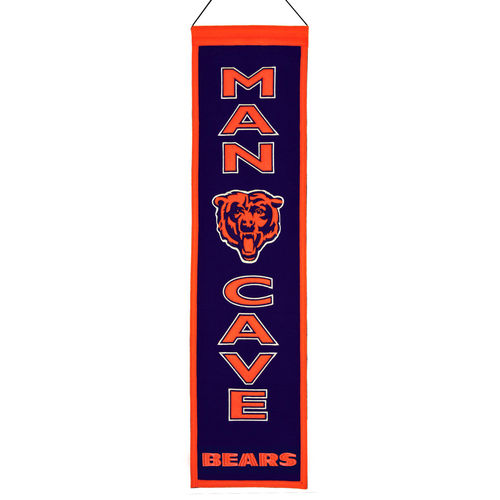 "Chicago Bears Wool 8"" x 32"" Man Cave Banner"