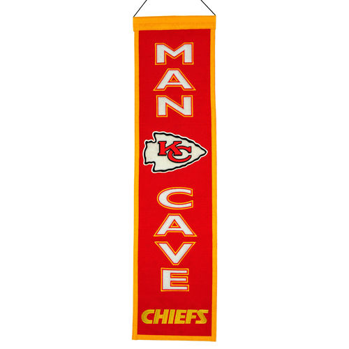 "Kansas City Chiefs Wool 8"" x 32"" Man Cave Banner"
