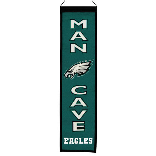 "Philadelphia Eagles Wool 8"" x 32"" Man Cave Banner"