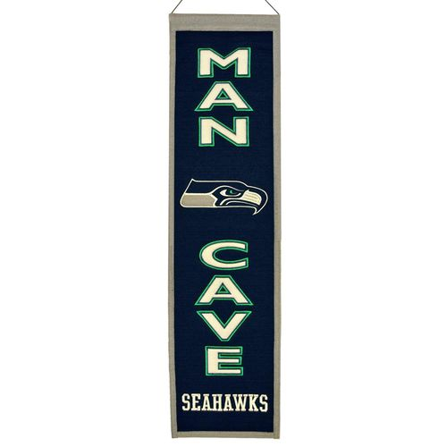 "Seattle Seahawks Wool 8"" x 32"" Man Cave Banner"